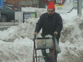 disabled man walking in snow,,my life sucks