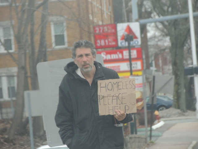 a homeless man begging, unemployed in Hartford